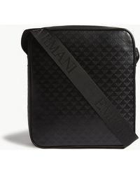 Emporio Armani - Embossed Eagle Leather Messenger Bag - Lyst