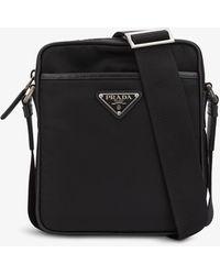 Prada Brand-plaque Recycled-nylon Cross-body Bag - Black