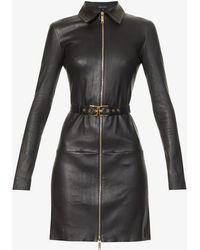 Jitrois Agatha Leather Mini Dress - Black