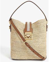 Mark Cross Murphy Leather-trimmed Raffia Bucket Bag - Multicolour
