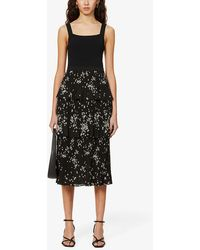 Ted Baker Betee Tiered Floral-print Crepe Midi Dress - Black