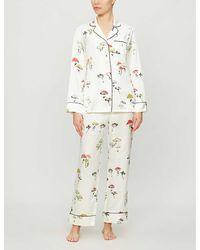 Olivia Von Halle Lila Graphic-print Silk Pyjamas - White