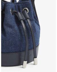 The Kooples Nano Tina Leather And Denim Bucket Bag - Blue