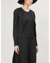 Pleats Please Issey Miyake Basics Long-sleeved Satin Pleated Jacket - Black