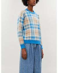 Sandro Hairy-effect Checked Jacquard Jumper - Blue