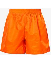 Walter Van Beirendonck Embroidered-graphic Relaxed-fit Shell Shorts - Orange