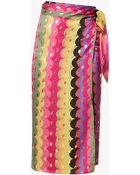 Never Fully Dressed Marble Arch Graphic-print High-waist Crepe Midi Skirt - Pink
