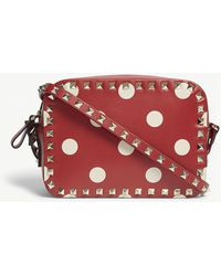 Valentino - Ladies Red And White Polka Dot Vintage Rockstud Polka-dot Leather Cross-body Bag - Lyst