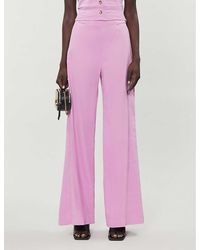 Pinko Luigia High-rise Linen-blend Pants - Pink