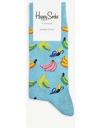 Happy Socks Banana Pattern Cotton-blend Socks - Blue