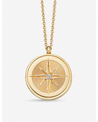 Astley Clarke Celestial Compass 18ct Yellow-gold Vermeil And Sapphire Necklace - Metallic