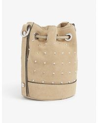 The Kooples Tina Small Brand-embossed Suede Bucket Bag - Natural