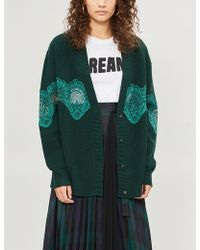Sandro - Floral-lace Trimmed Wool-blend Cardigan - Lyst