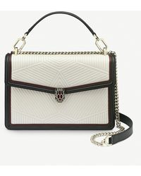 BVLGARI Serpenti Forever Quilted Leather Shoulder Bag - White