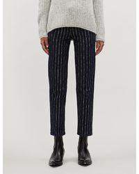 "PAIGE Hoxton Straight Ankle 27"" - Glitter Stripe - Blue"