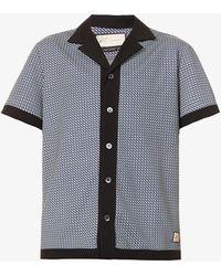 PREVU Carman Geometric-print Stretch-woven Shirt - Black