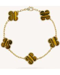 Van Cleef & Arpels - Vintage Alhambra Gold And Tiger's Eye Bracelet - Lyst