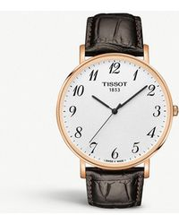 Tissot - Everytime Stainless And Leather Watch - Lyst