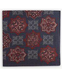 Eton of Sweden Printed Wool And Silk-blend Pocket Square - Black