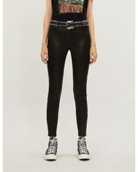 7 For All Mankind The Skinny High-rise Leather Jeans - Black
