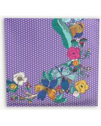 Eton of Sweden Floral And Polka Dot Print Silk Scarf - Purple