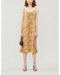 Reformation Crimini Snakeprint Sleeveless Crepe Dress - Multicolour