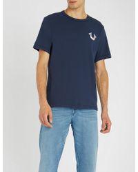 True Religion - Metallic Logo Print Cotton-jersey T-shirt - Lyst