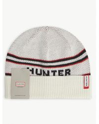 HUNTER - Logo-embroidered Knitted Beanie - Lyst