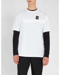 Fred Perry - Tape-trimmed Cotton-jersey T-shirt - Lyst