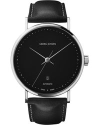 Georg Jensen - Koppel Stainless Steel And Leather Watch 41mm - Lyst