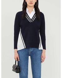 Claudie Pierlot V-neck Stripe-trimmed Stretch-knit Sweater - Blue