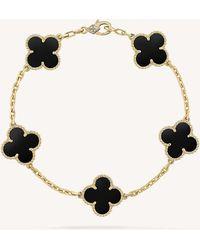 Van Cleef & Arpels - Vintage Alhambra Gold And Onyx Bracelet - Lyst