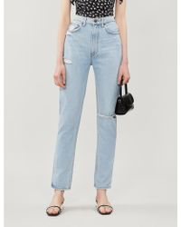 Reformation Stevie High-rise Straight Jeans - Blue
