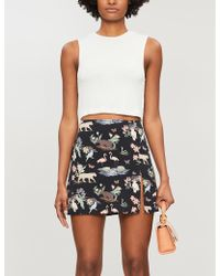 Reformation Margot Wildlife-print Crepe Mini Skirt - White