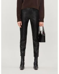 Sandro Slim-fit High-rise Leather Trousers - Black