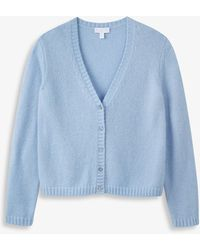 The White Company V-neck Knitted Cardigan - Blue
