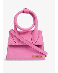Jacquemus Le Chiquito Noeud Medium Suede Top Handle Bag - Pink