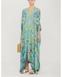 Meng Floral-print Silk-satin Kimono - Green