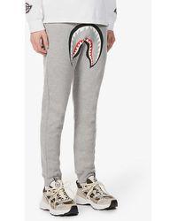 A Bathing Ape Shark-print Cotton-jersey jogging Bottoms - Grey