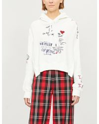 Izzue - Slogan-embroidered Cotton-jersey Hoody - Lyst