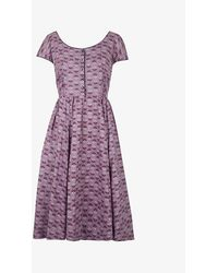 Beyond Retro Pre-loved 1950s Graphic-print Poplin Midi Dress - Purple