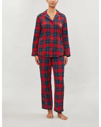 Ralph Lauren Checked Brushed Cotton Pyjama Set - Red
