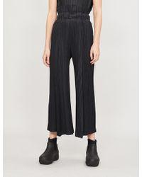 Pleats Please Issey Miyake - Wide-leg Contrast-pleat High-waist Trousers - Lyst