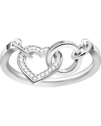 Thomas Sabo - Together Forever Heart Sterling Silver And Zirconia Ring - Lyst