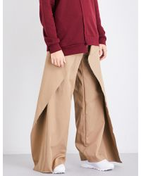 Moohong Layered-panel Wide High-rise Cotton Pants - Multicolor