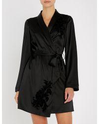 Myla Primrose Hill Floral-embroidered Silk-satin Robe - Black