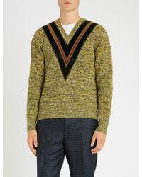 Bally - V-detail Wool-knit Jumper - Lyst