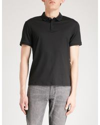 Emporio Armani - Logo-embroidered Cotton Polo Shirt - Lyst
