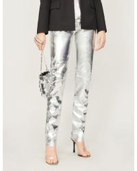 Paco Rabanne Metallic High-rise Skinny Jeans