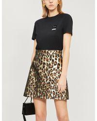 587d7b195 Miu Miu - Leopard-pattern Metallic-jacquard Mini Skirt - Lyst